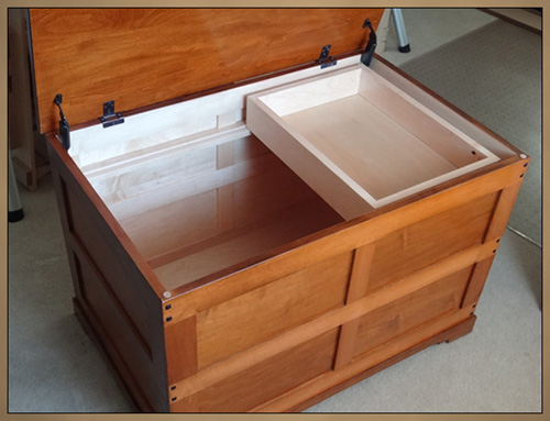 Custom Furniture - Wood Hope Chest with open lid