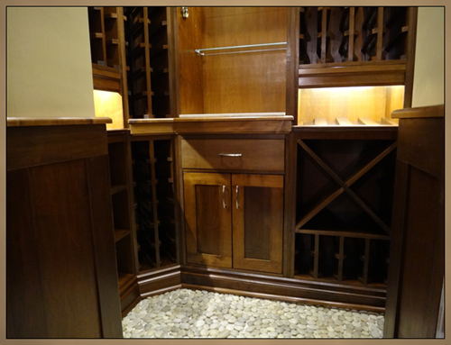 Fine Woodworking - Lower view of Custom Wine Cellar Cabinets