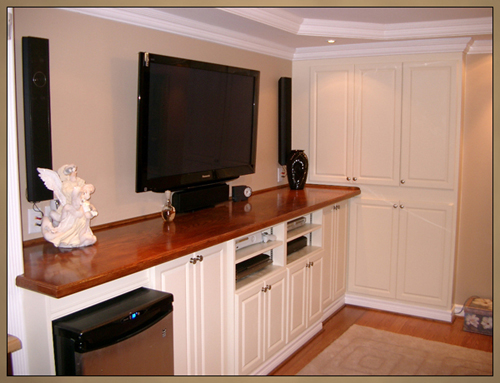 New Basement Bar with integrated Home Theater Cabinet