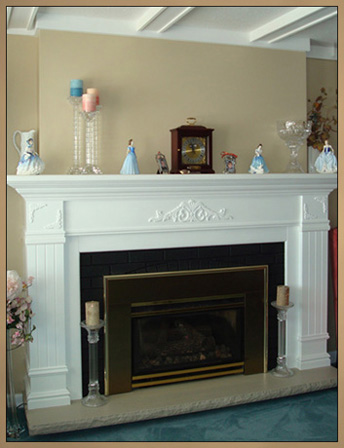 Brick Fireplace Makeover - After new custom wood mantel installed