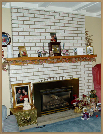Brick Fireplace Makeover - Before new mantel installed