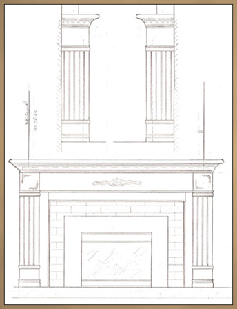 Brick Fireplace Makeover - Sketch of new fireplace mantel design