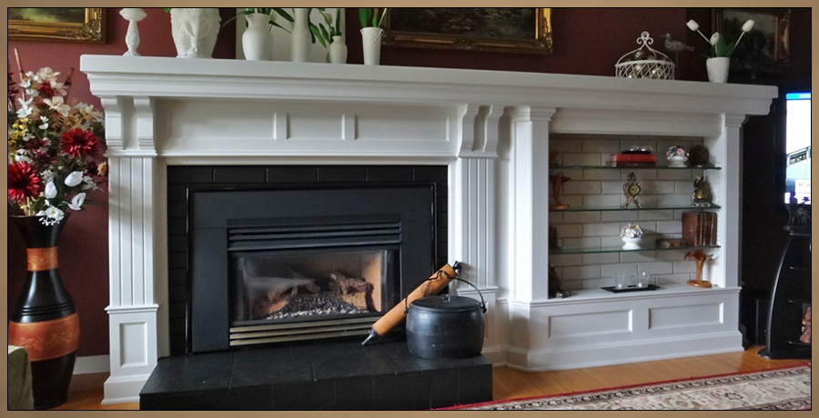 Fireplace Mantel Designs Sketch Of Custom With Built In Curio Cabinets On Both