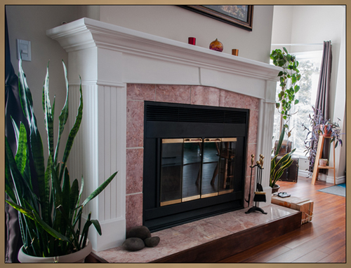 Traditional Painted Keystone Fireplace Mantel